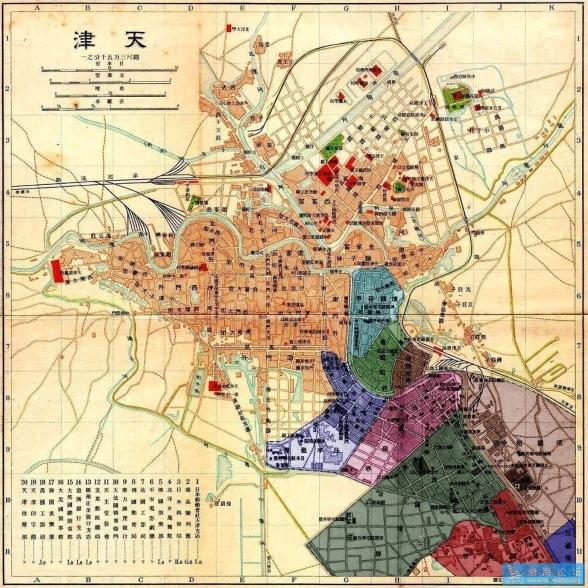 텐진 9개국 조계(租界)의 각국세력범위