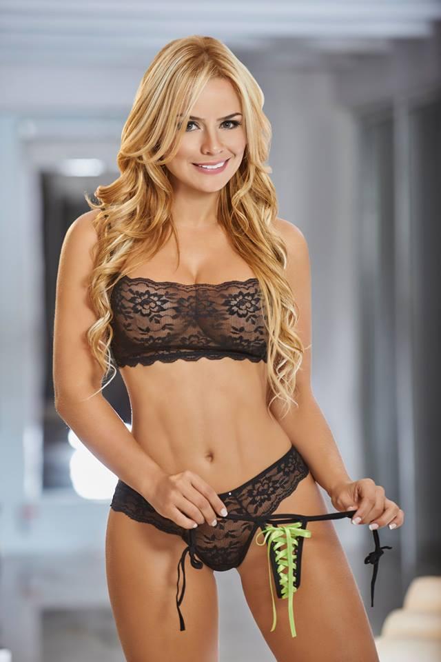 model in see through lingerie