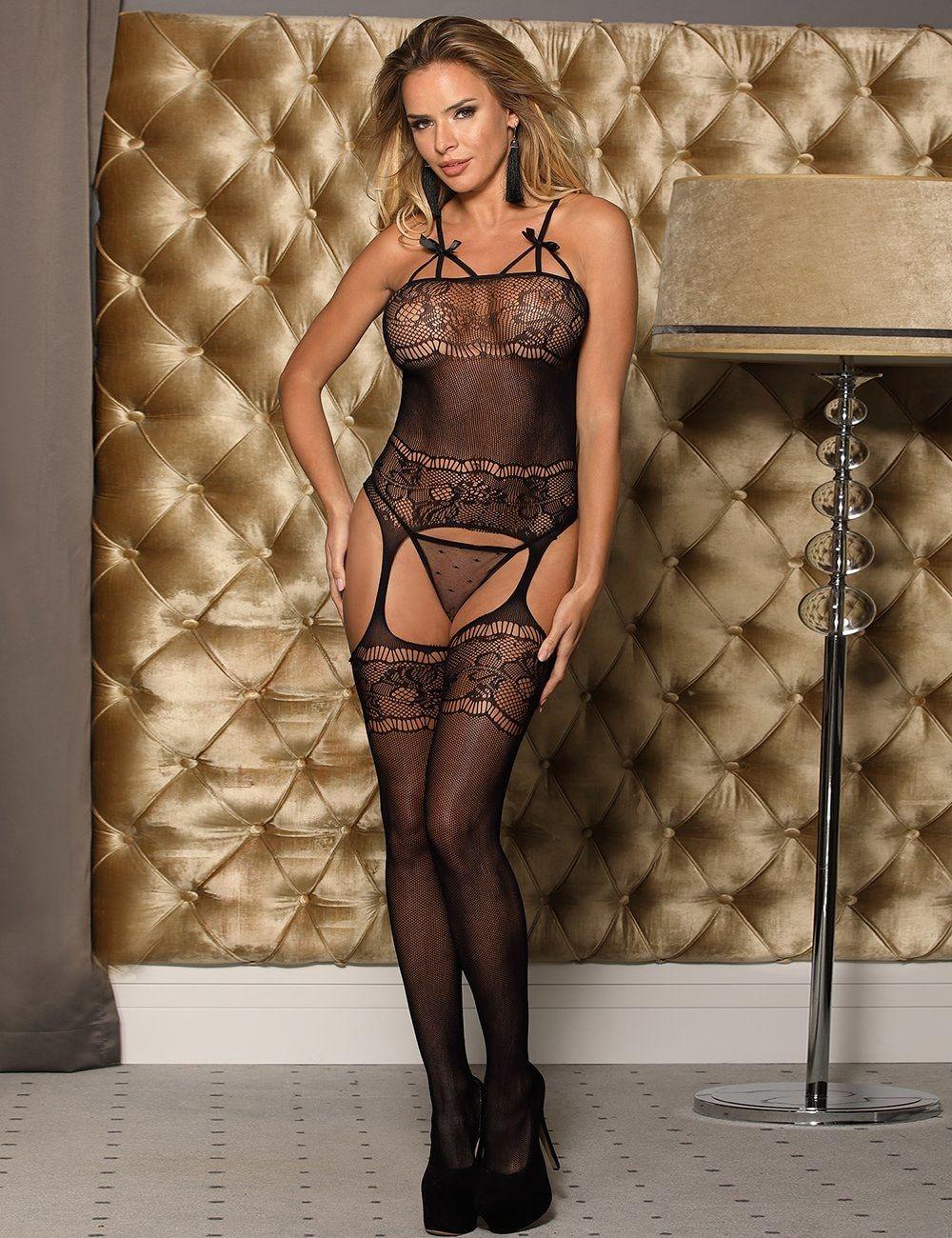 cool girl in mesh lingerie